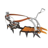 Modular crampon for ice and mixed climbing, with Leverlock Universal bindings with interchangeable front points.
