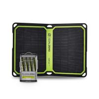 The Nomad 7 Plus Solar Panel connects to the Guide 10 Plus to charge AAs from the sun