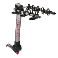 A sturdy, hitch-mount rack that carries 5 bikes, on folding dual arms with anti-sway cradles.